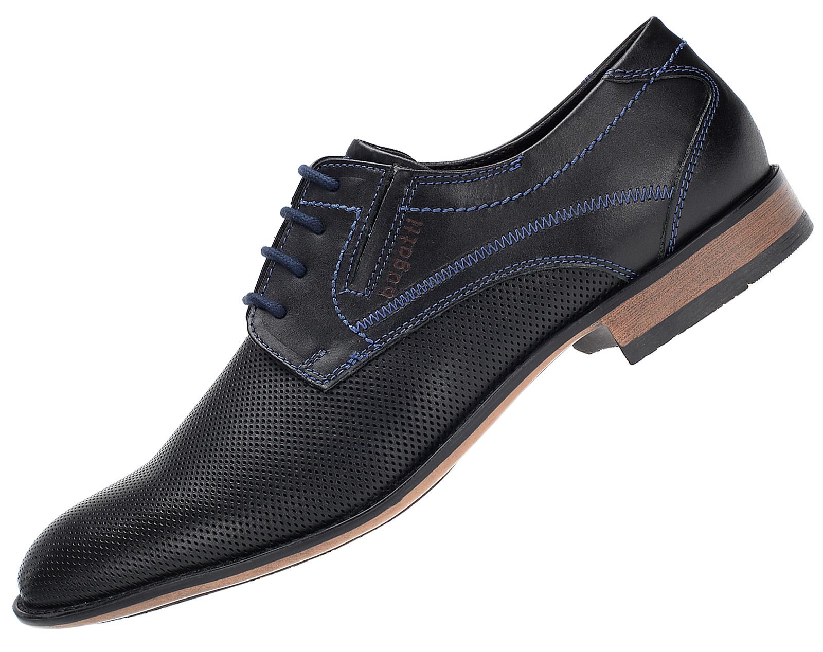 Details zu Bugatti Herren Business Schuhe Leder Derbys Halbschuhe Schnürer U7101 Schwarz