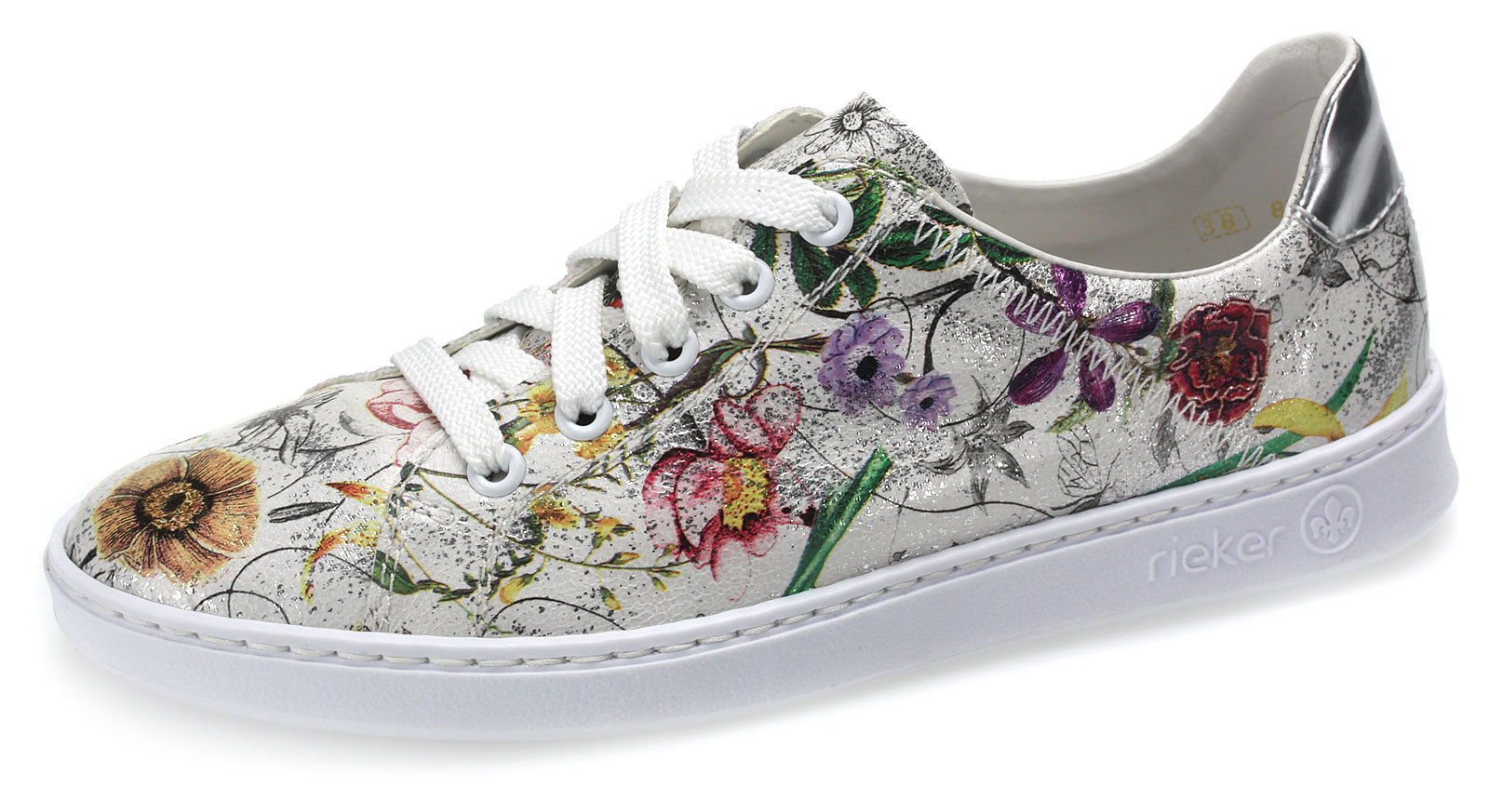 Details zu Rieker Damen Sneaker Sommer Damenschuhe Freizeitschuhe Blumen N48G190 multi 39