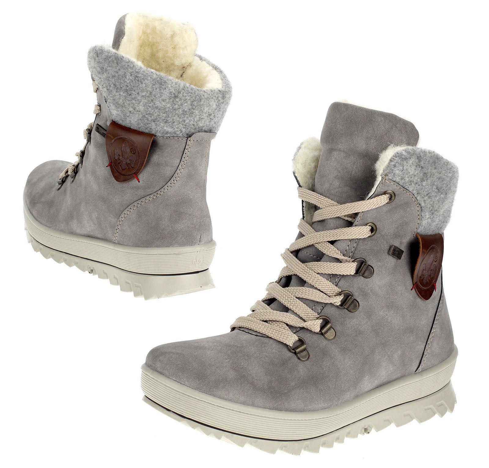 Details zu Rieker TEX Boots Damen Stiefeletten Grau Lammwolle Warmfutter Y4331 40