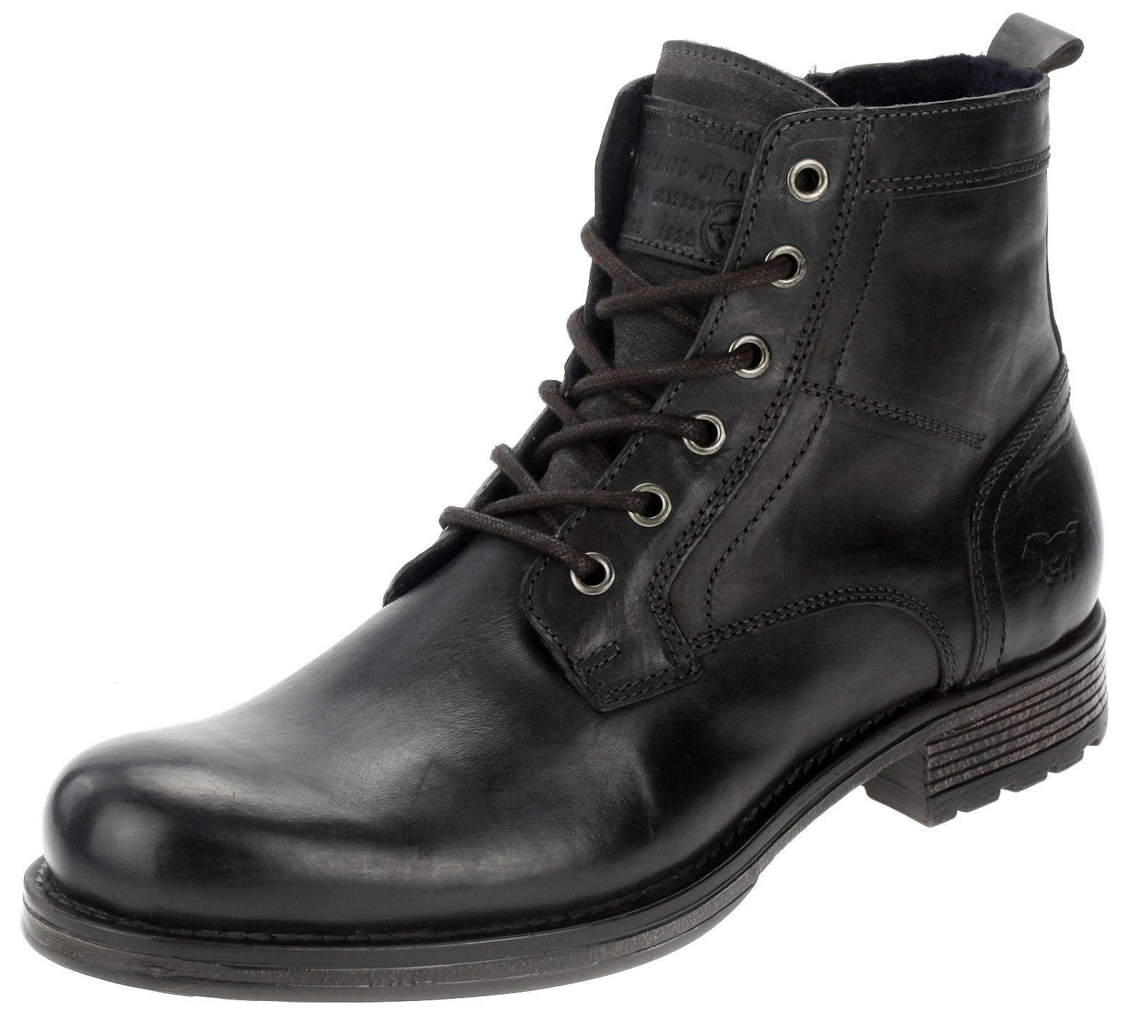 Details zu Mustang Herren Stiefel Boots Leder Männer Stiefelette 4865507 Anthrazit 43 44 45