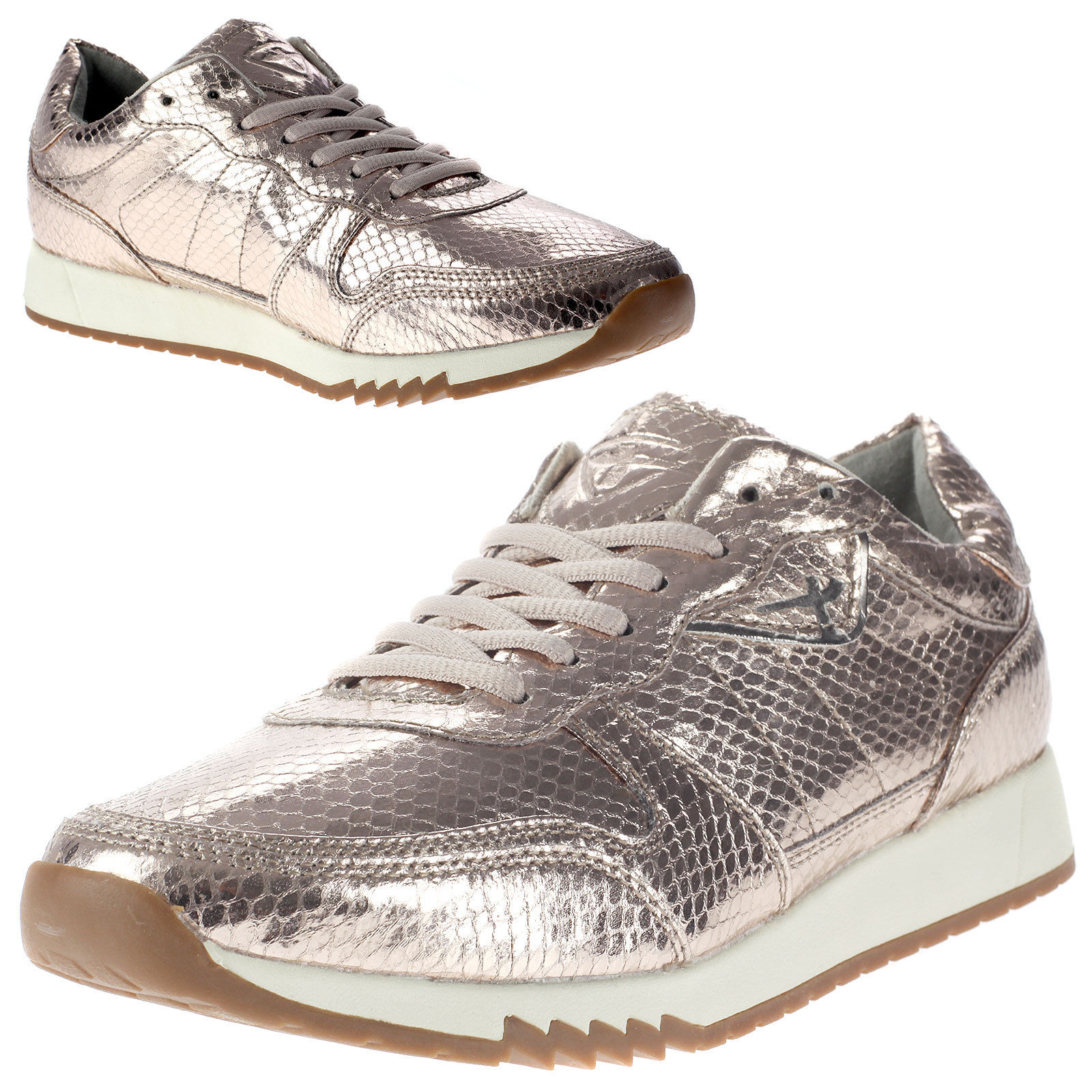 Details about Tamaris Women's Sneakers Reptilmuster Ladies' Shoes Lace up 23604 Gold Rose