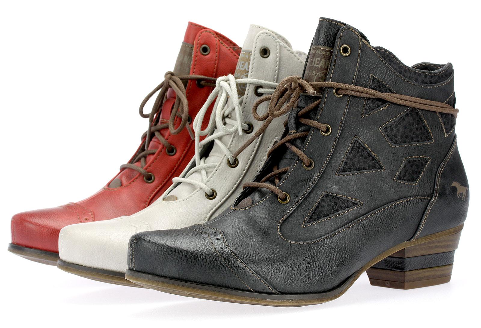 fea860c89f3f Details zu Mustang Damen Stiefeletten Boots Schnürstiefeletten Booty 1187505