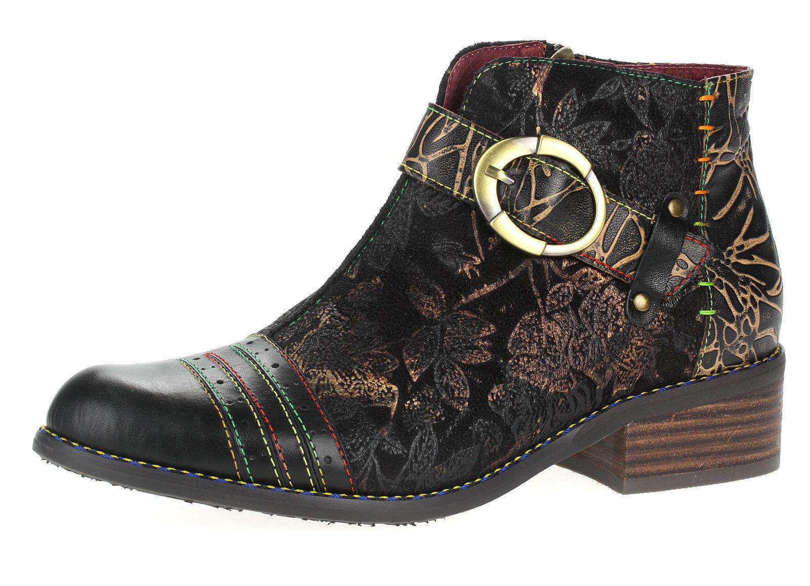 5253afca7e9ddc Laura Vita Damen Leder Boots Booty Stiefeletten Schwarz Alice 12