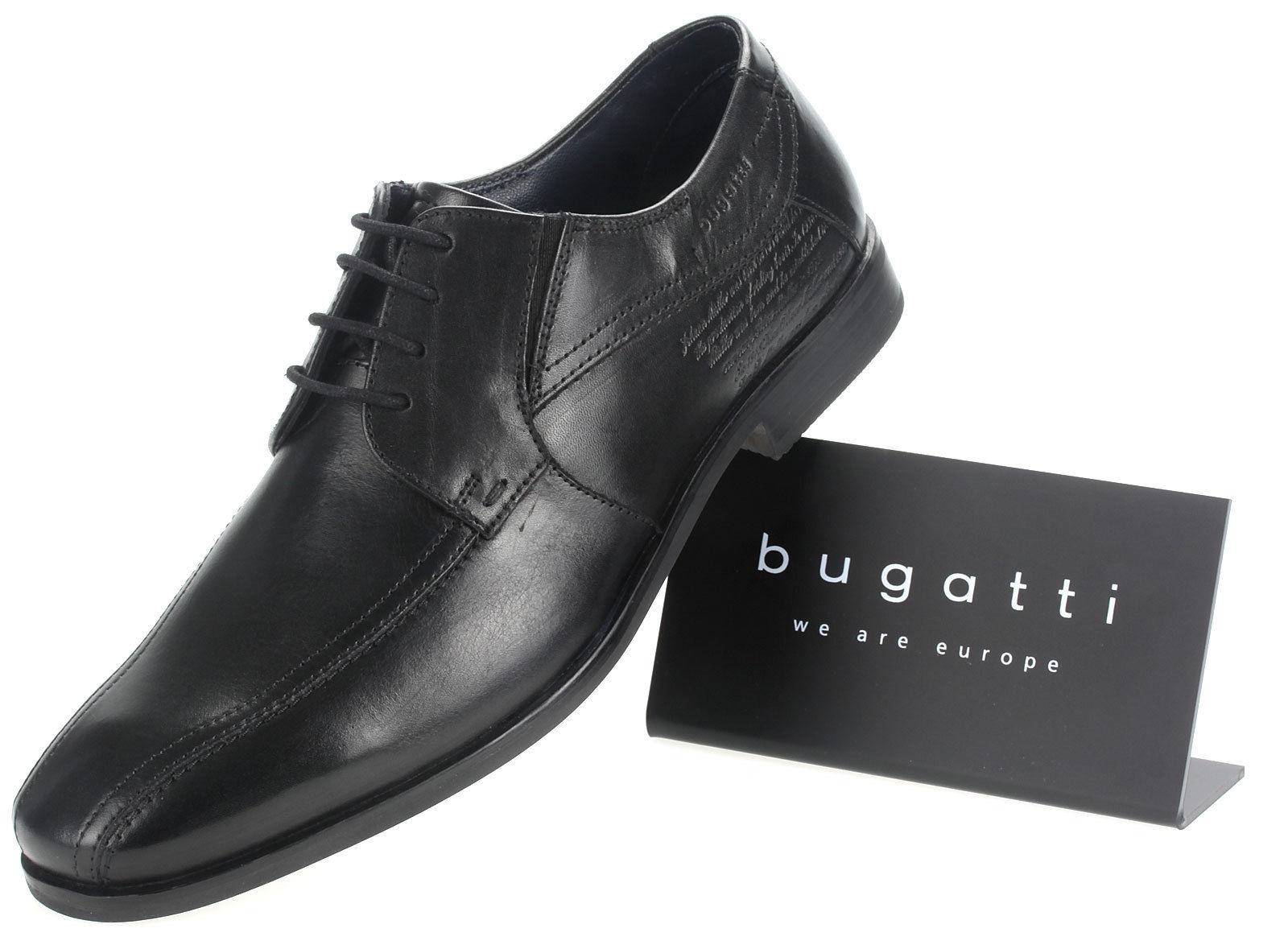 Details zu Bugatti Herren Leder Halbschuhe Business Schuhe Schnürer 15470 schwarz Gr. 41