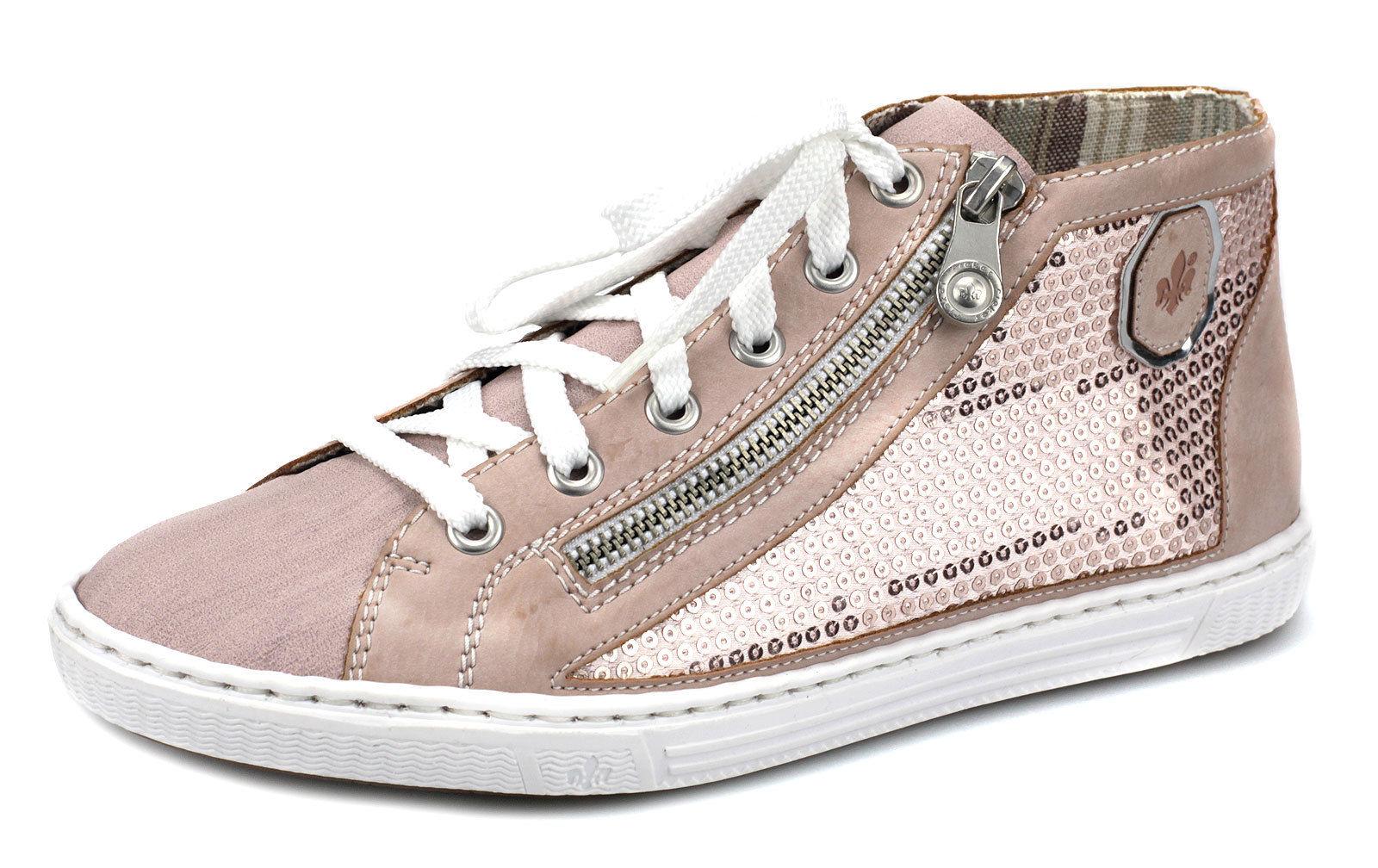 Damenschuhe Zu L093032 Rosa Gold 37 Details Sneaker Hi Top Rieker Freizeitschuhe E9H2DI