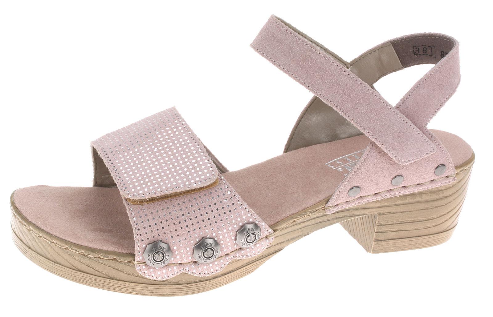 Details zu Rieker Damen Leder Sandalen Sandaletten Damenschuhe Sommerschuhe V6862 31 Rosa