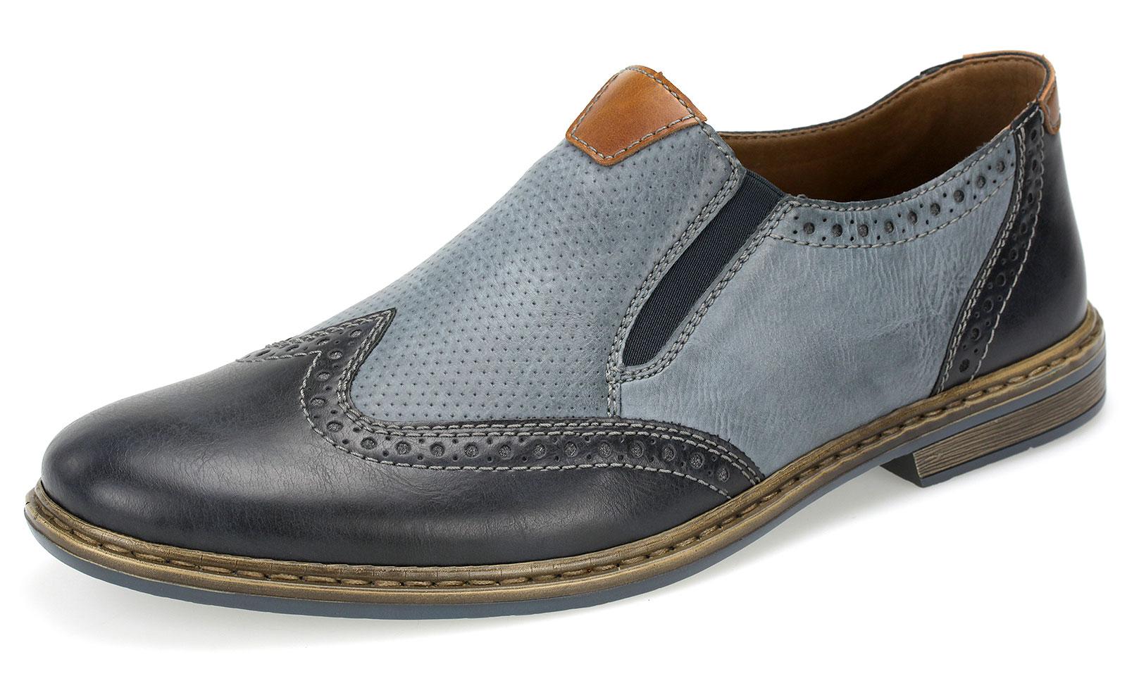 uk availability bdd36 ed278 Details zu Rieker Herren Slipper Halbschuhe Business Schuhe Budapester  13473-15 Blau