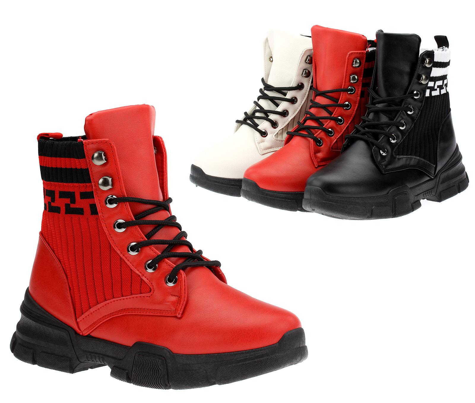 Bottines Bottes à sur Doublé Hiver Lacets Bottes Chaussures Tricot Femme Détails Baskets qVMGSUzp