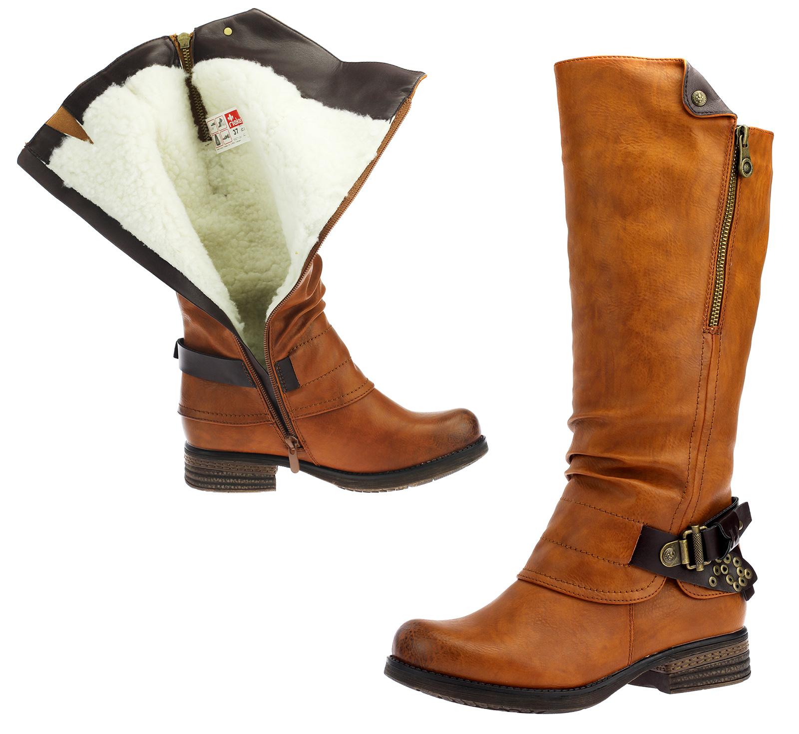 Détails sur Rieker Bottes Chaussures Femmes D'Hiver Optique Cuir Braun